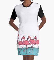 Pink Flamingo  Graphic T-Shirt Dress