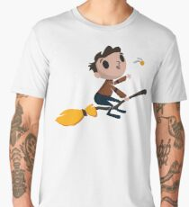 Retro Wizard on a Broom (3) Men's Premium T-Shirt