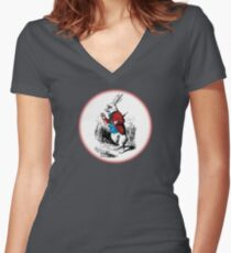 Alice in Wonderland | White Rabbit checking his Watch Women's Fitted V-Neck T-Shirt