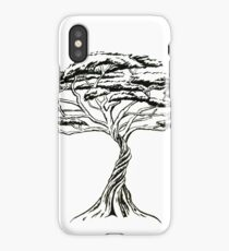 Whistling Thorn , Zen Bonsai African Tree Black and White Illustration iPhone Case