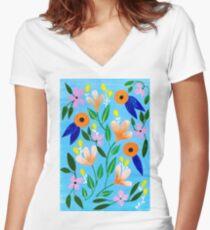 Flowers on blue Women's Fitted V-Neck T-Shirt