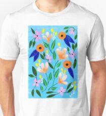 Flowers on blue T-Shirt