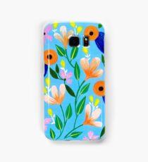 Flowers on blue Samsung Galaxy Case/Skin