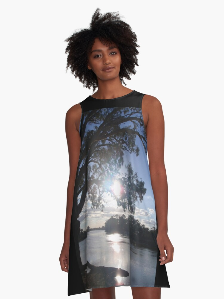 Sunset on the Murray (in Australia) A-Line Dress Front