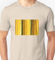 Three corn ears. Vegetable concept background T-Shirt