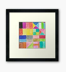 Abstract hand painted colorful crayon geometric pattern Framed Print