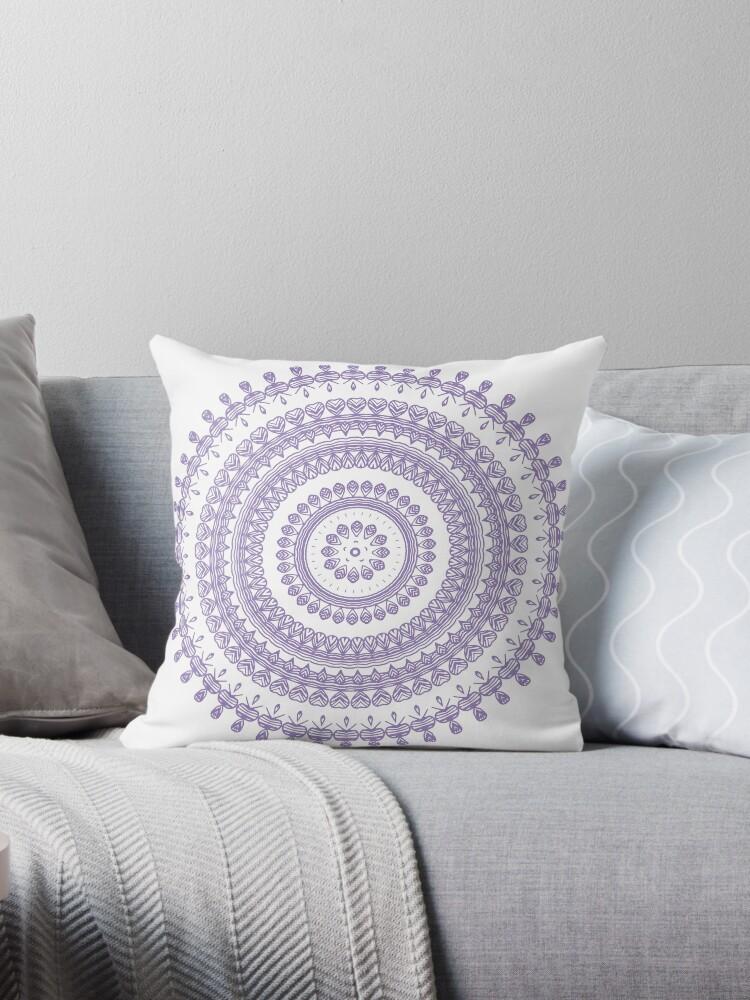 Bohemian Tribal Folk Floral Ornamental Circle Doily Drawing Lavender Purple  By Saburkitty