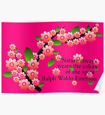 Beautiful nature quote with cherry blossom Poster