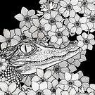 Crocodile in the flowers by Bronia Sawyer