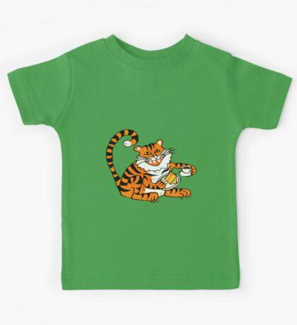 Tiger tea time - Original Linocut by Francesca Whetnall Kids Clothes
