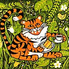 Tiger tea time - Original Linocut by Francesca Whetnall by Cecca-Designs