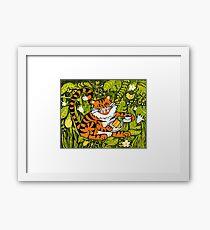 Tiger tea time - Original Linocut by Francesca Whetnall Framed Print