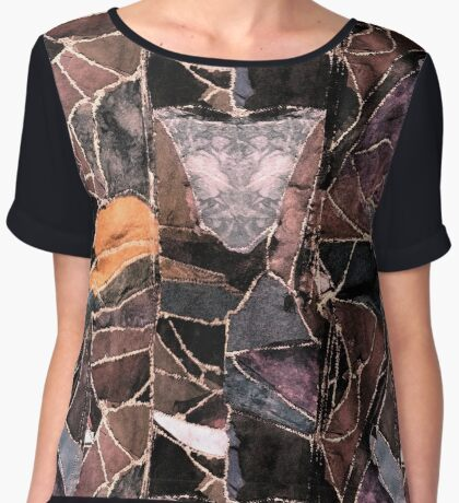 leather patches Women's Chiffon Top