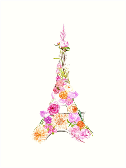 Quot Floral Eiffel Tower Quot Art Print By Slbygl Redbubble