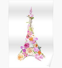 Floral Eiffel Tower Poster