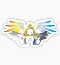 Guns Blazing (mercy inspired print) Sticker