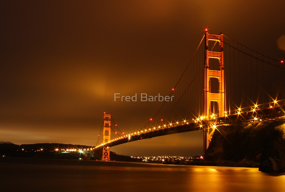 Golden Gate At Night by Fred Barber