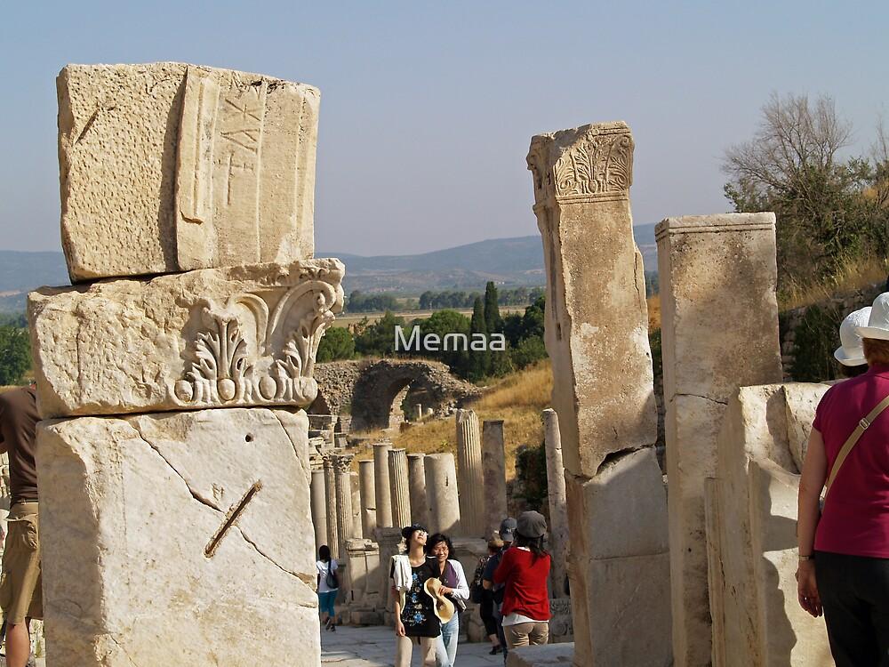 Colums Lined In Ephesus Turkey  by Memaa