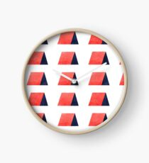 Red Blue Watercolor Pattern Clock