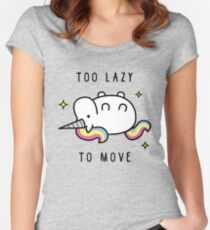 Rainbow The Lazy Unicorn Women's Fitted Scoop T-Shirt