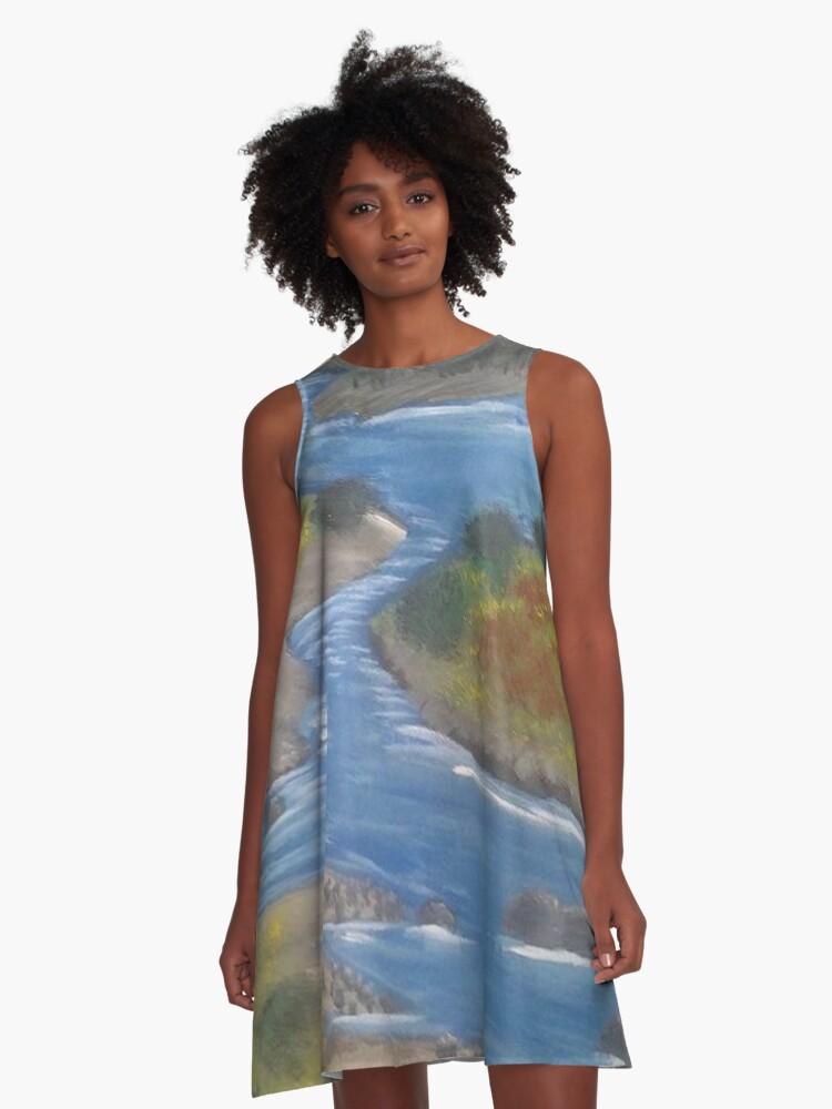 Meandering River A-Line Dress Front