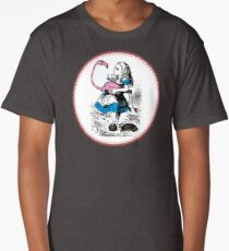 Alice in Wonderland | Alice trying to play croquet with a Flamingo and Hedgehogs Long T-Shirt
