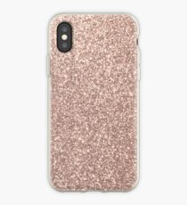 Rosa Rose Gold Metallic Glitter iPhone-Hülle & Cover