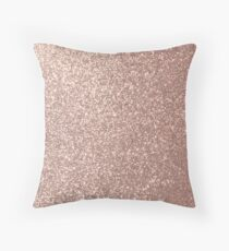 Pink Rose Gold Metallic Glitter Throw Pillow