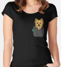 Yorkie FU Pocket Women's Fitted Scoop T-Shirt