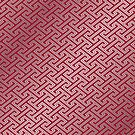 Trendy Fashionable Burgundy Silver Bordeaux Interlocking Pattern by Beverly Claire Kaiya