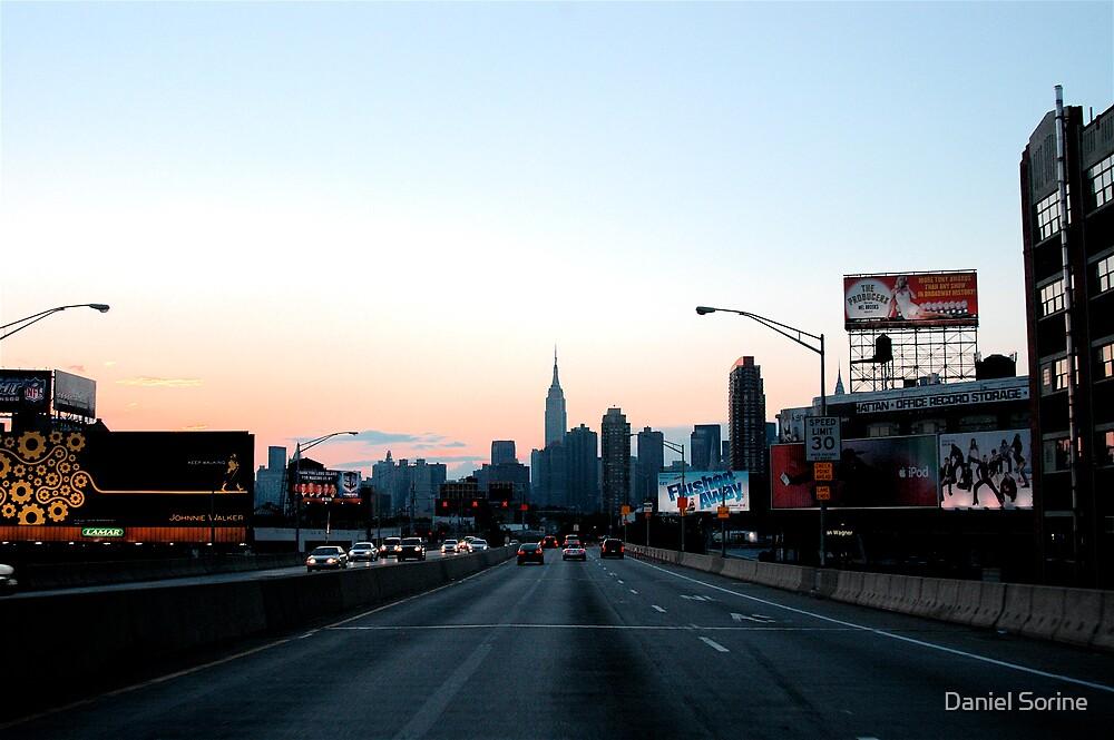 Manhattan seen from the Long Island Expressway by Daniel Sorine