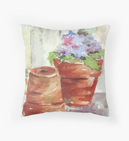 Violets in a pot Throw Pillow