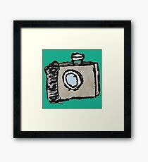 Old Timey Camera Minimalist Ink Drawing Framed Print