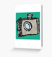 Old Timey Camera Minimalist Ink Drawing Greeting Card