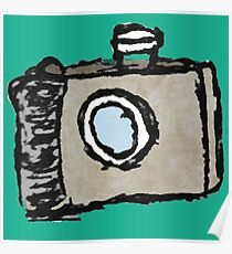 Old Timey Camera Minimalist Ink Drawing Poster
