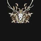 Deer Skull and Engraved Floral Detail by Denis Marsili