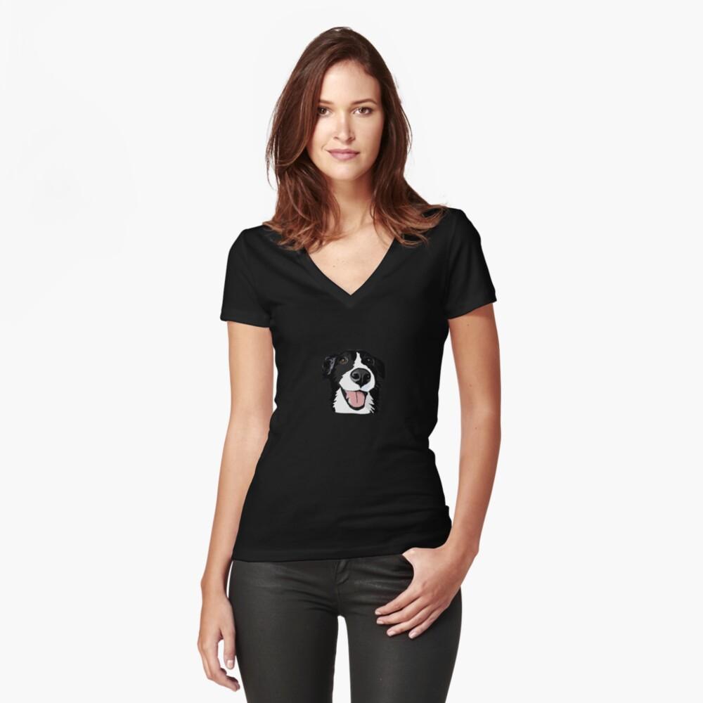 Smiley-Collie Tailliertes T-Shirt mit V-Ausschnitt