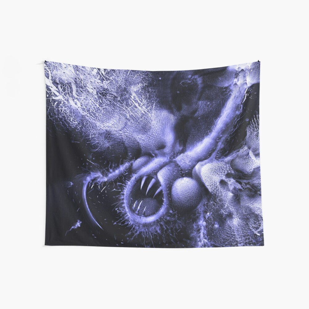TIME AERIALS Squamafly Blue Wall Tapestry