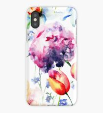 Seamless wallpaper with Beautiful flowers iPhone Case