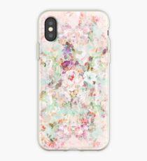 Pink watercolor vintage flowers pattern iPhone Case