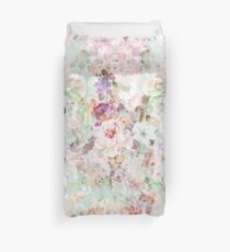 Pink watercolor vintage flowers pattern Duvet Cover