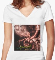 TIME AERIALS Squamafly Red with text Women's Fitted V-Neck T-Shirt