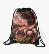 TIME AERIALS Squamafly Red with text Drawstring Bag