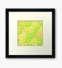 Lemon, orange and lime slices pattern design Framed Print