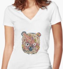 Synthorganic Bear Women's Fitted V-Neck T-Shirt