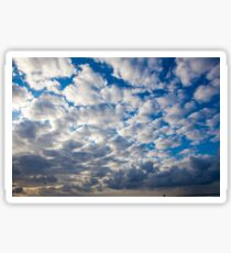 Cumulus Cloudscape white clouds in blue sky background  Sticker