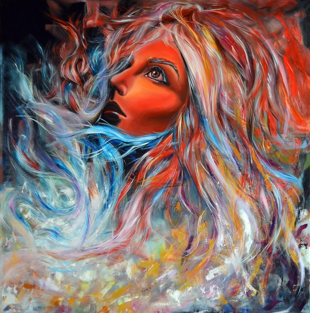 Wildfire, 100-100 cm, 2017, oil on canvas by oanaunciuleanu