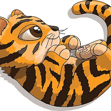 Tiger cub cartoon character playing with his tail by illumylov