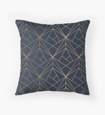 Elegant geometric copper navy blue Throw Pillow
