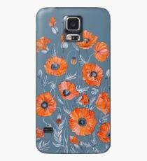 Blumen botanische Kunst der Mohnblumen Hülle & Klebefolie für Samsung Galaxy